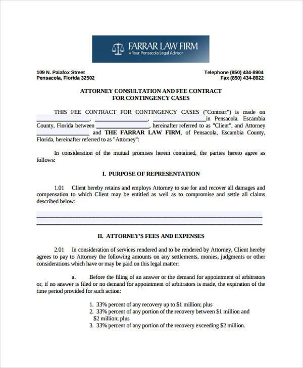 attorney contingency written fee agreement form