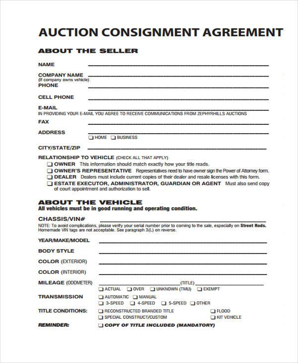 auction consignment agreement form