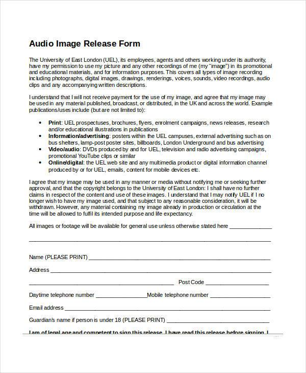 audio image release form