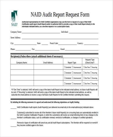 Sample Audit Report Forms   Free Documents In Word Pdf