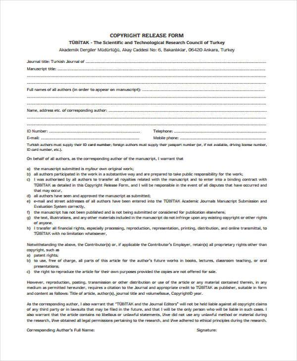author copyright release form sample
