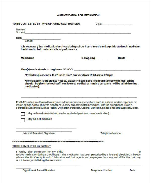 authorization for medication form
