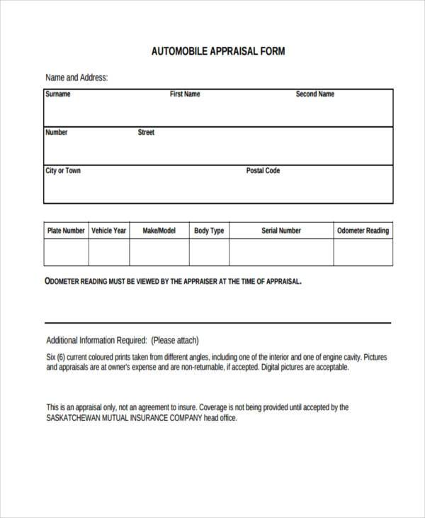 auto appraisal form example1