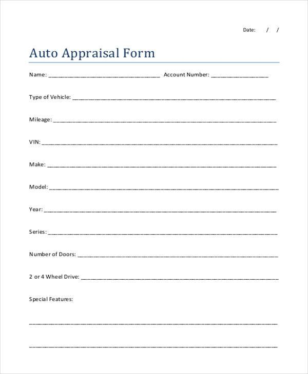 Sample Appraisal Forms In Pdf   Free Documents In Pdf