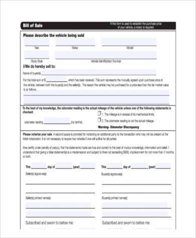 auto purchase receipt form