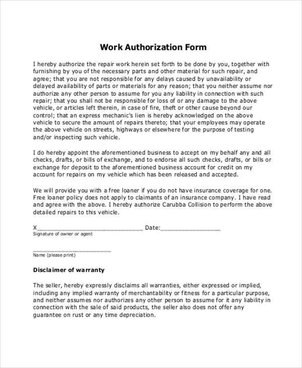 Auto-Work-Authorization-Form Vehicle Release Form Example on example termination form, example receipt form, example contract form, example order form, example recommendation letter, example police report, example affidavit form, example model release,