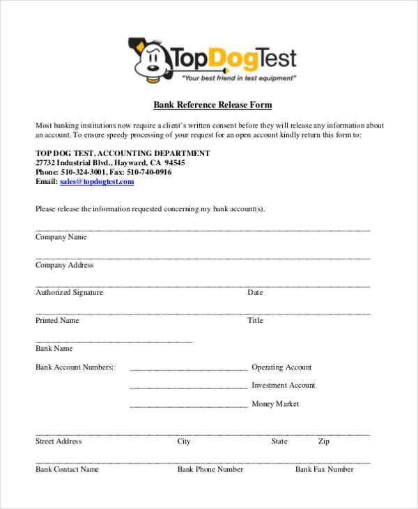 Reference Release Form Samples  Free Sample Example Format Download