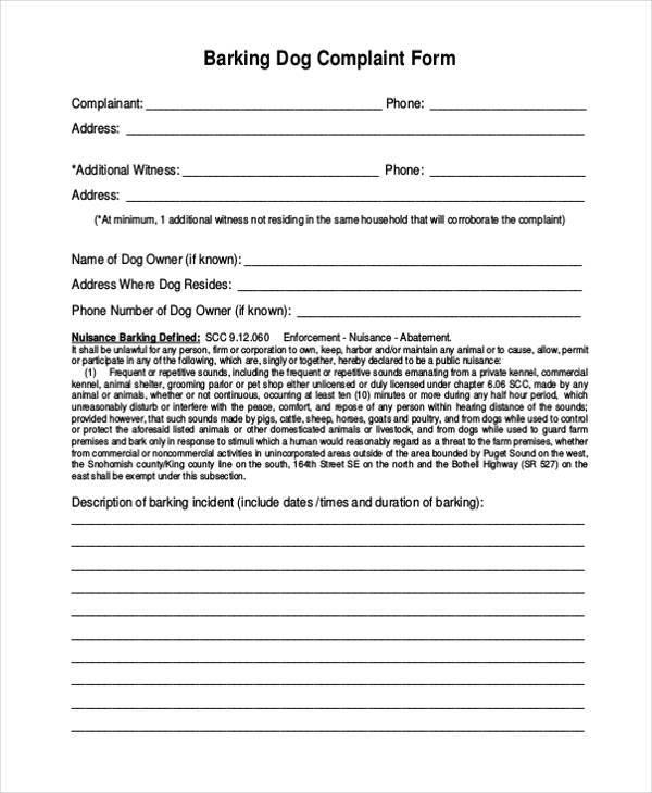 barking dog complaint form in pdf