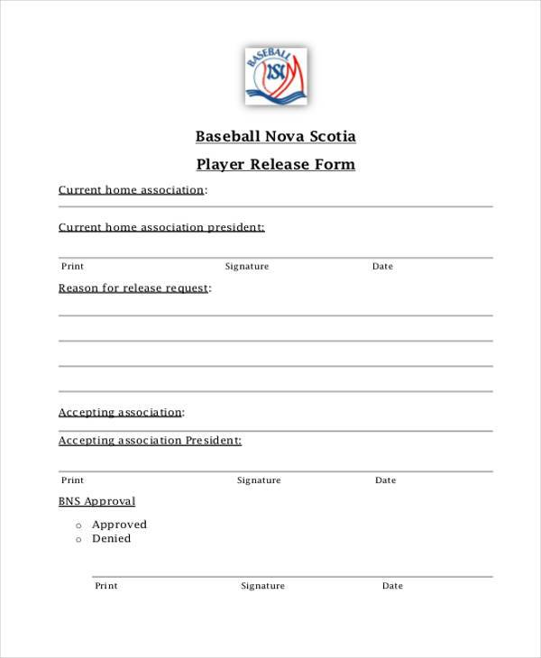 base ball player release form