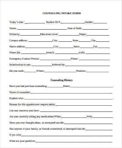 Counseling intake form template initial counseling forms for Student intake form template