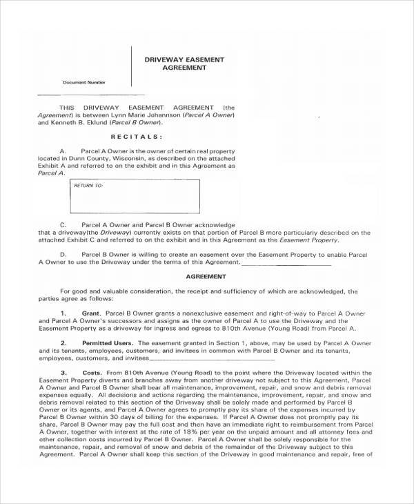 Sample Driveway Easement Agreement Forms 7 Free Documents In Word