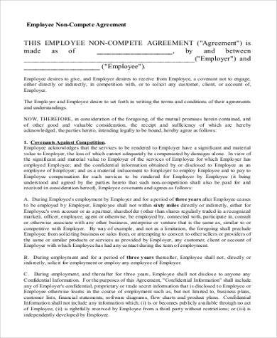 basic employee non compete agreement form