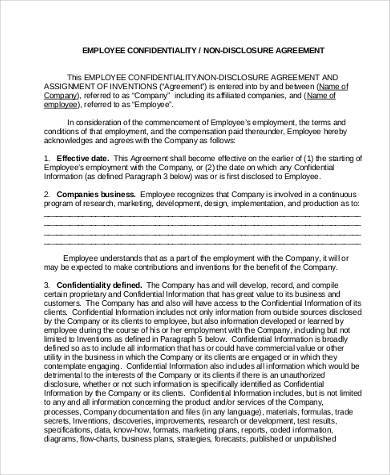 basic employee non disclosure agreement form
