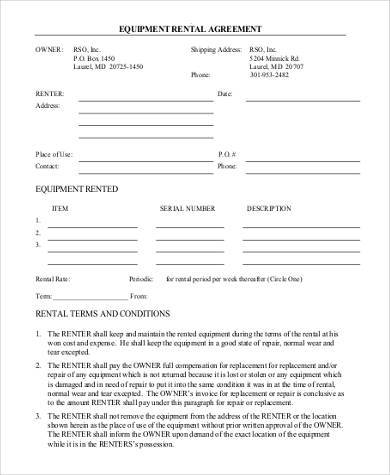 Basic Agreement Form. Basic Equipment Rental Agreement Form Basic