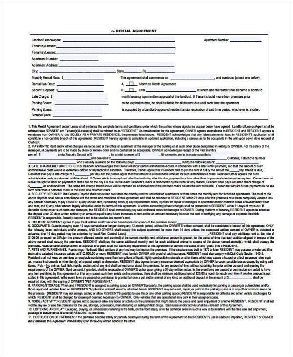 basic generic rental agreement form