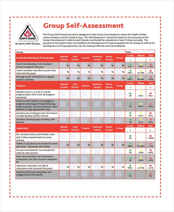 basic group self assessment form