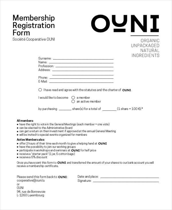 basic membership registration form