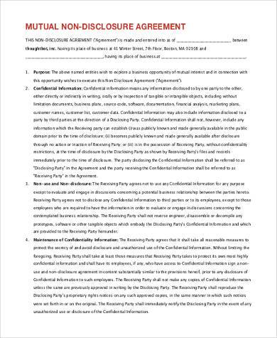 basic mutual non disclosure agreement form