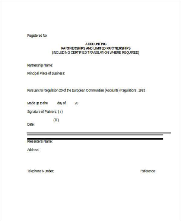basic partnership accounting form