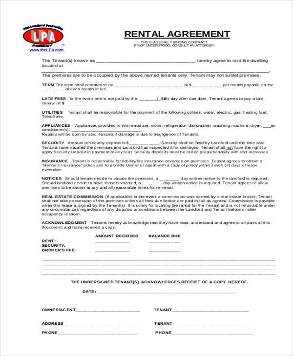 Rental Agreement Form Samples  Free Sample Example Format