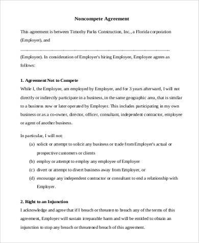 basic standard non compete agreement form