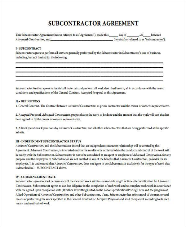 basic subcontractor contract form