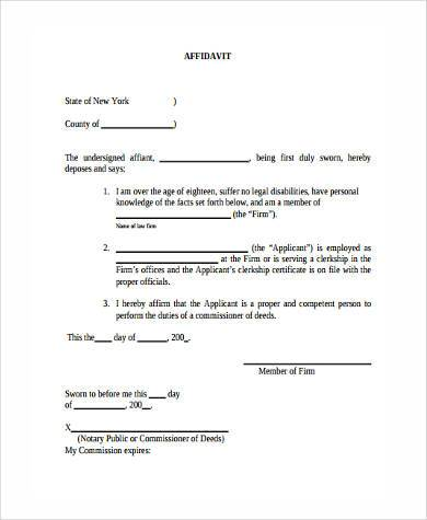 basic sworn affidavit form