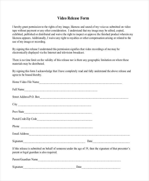 basic video release form