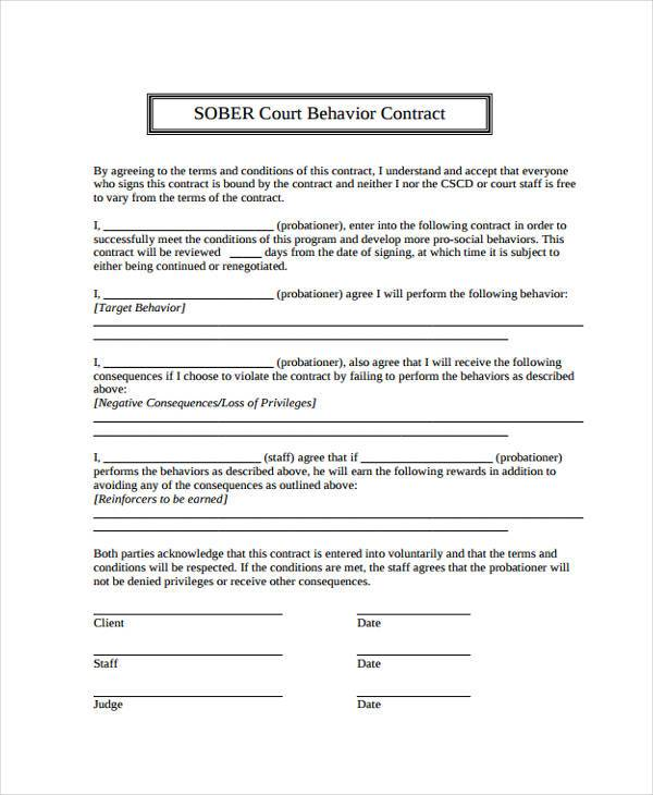 Sample Behavior Contract Forms - 7+ Free Documents In Word, Pdf