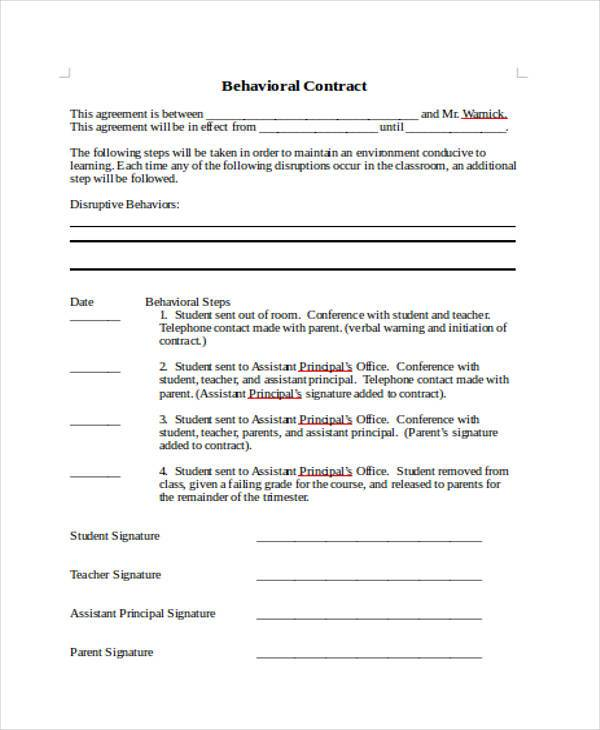 Sample Behavior Contract Forms   Free Documents In Word Pdf