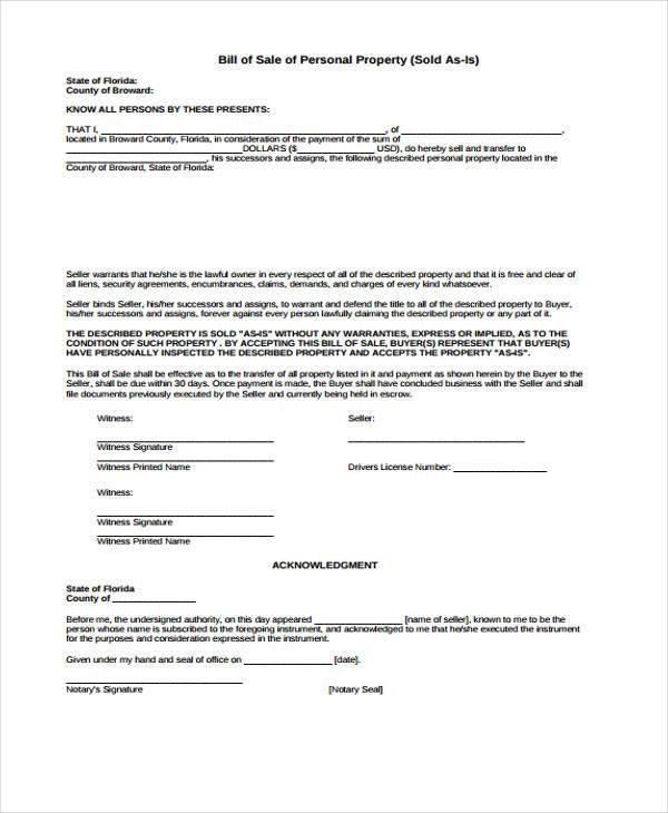 bill of sale personal propertyform in pdf