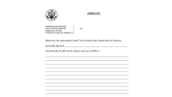 Blank Affidavit Form | Blank Affidavit Form Samples 19 Free Documents In Word Pdf