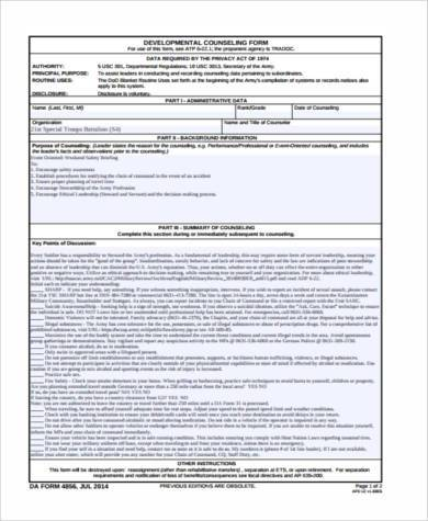 Blank Counseling Form Samples   Free Documents In Word Pdf