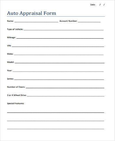 blank auto appraisal form1