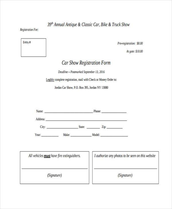 blank car show registration form