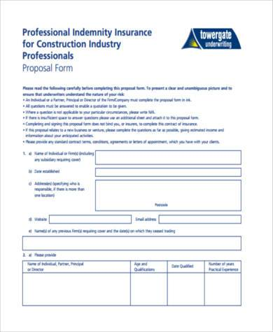 Blank Construction Proposal Form  Construction Proposal Form