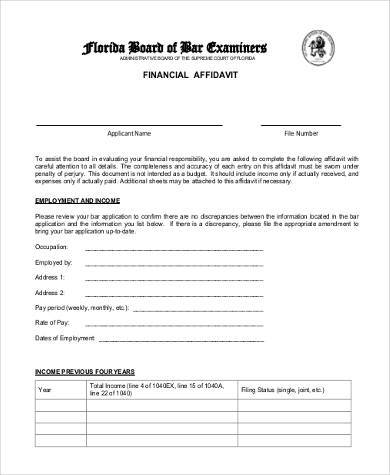 blank financial affidavit form