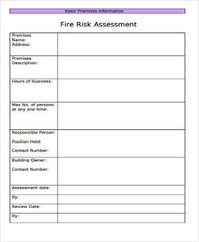 blank fire risk safety assessment form