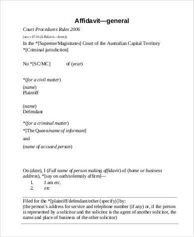 Sample Affidavit Forms In Pdf   Free Documents In Pdf
