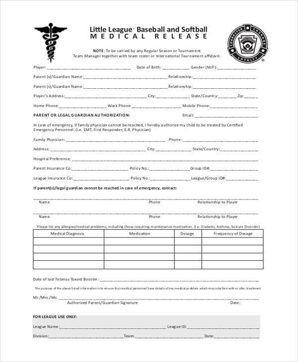 blank medical release form