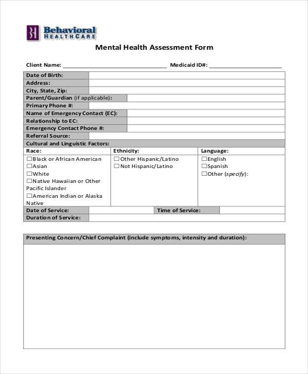 blank mental health assessment form