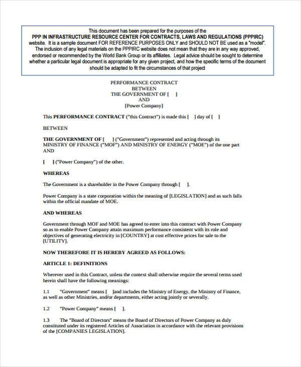Blank Performance Contract Form  Blank Contract Template