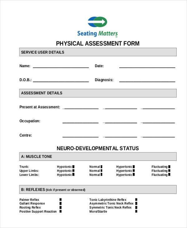 blank physical assessment form in pdf