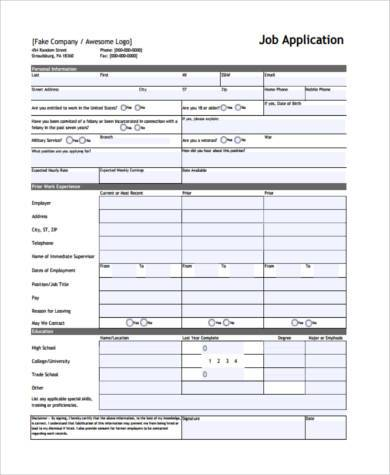 blank printable job application form sample