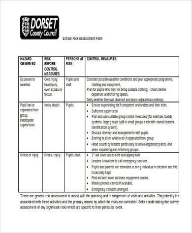 blank school risk assessment form