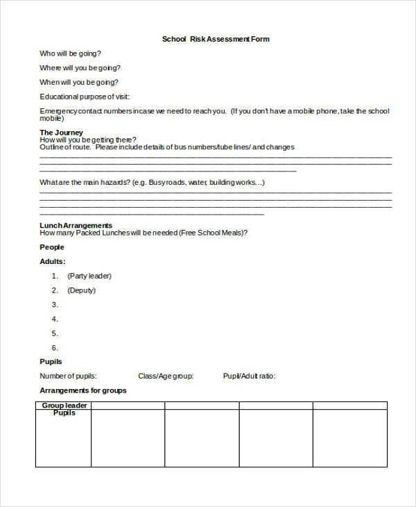 blank school risk assessment form1