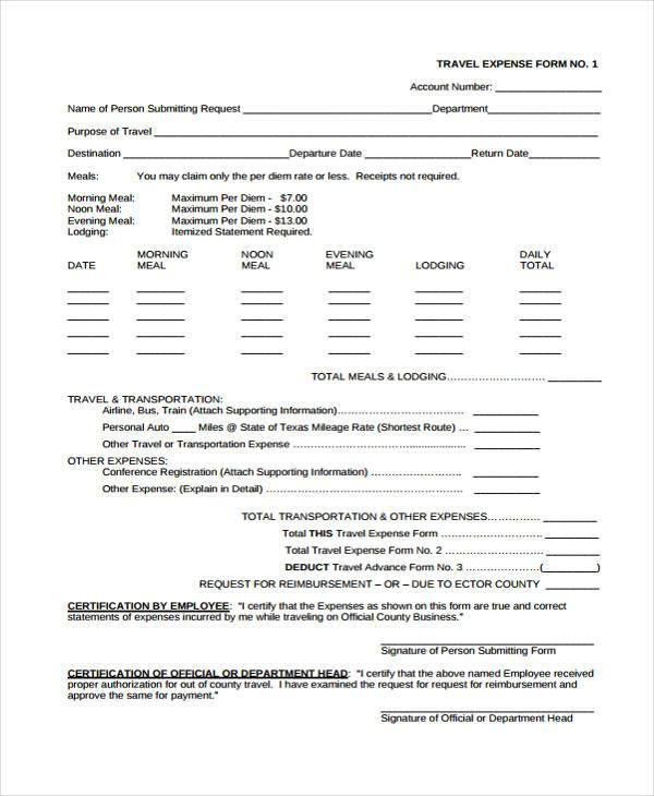 blank travel expense form