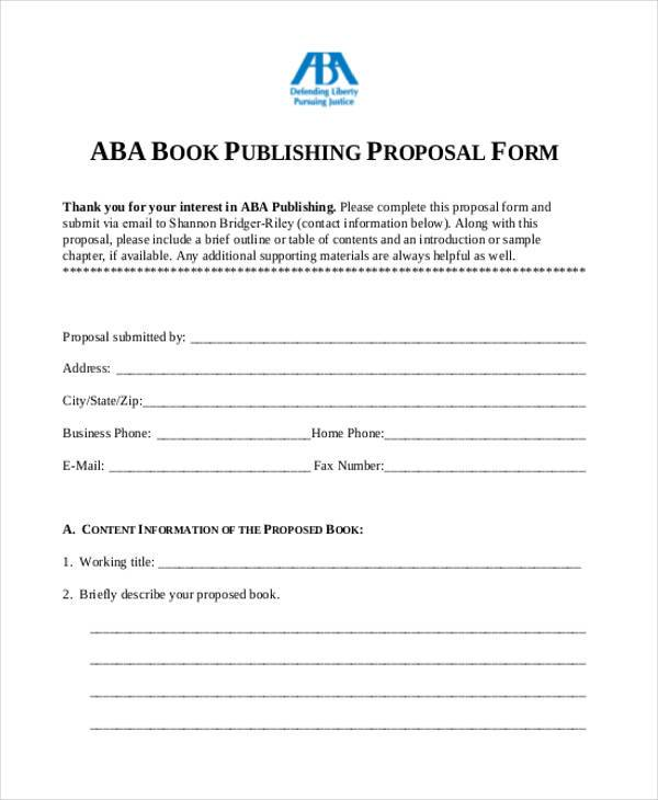 book author proposal form