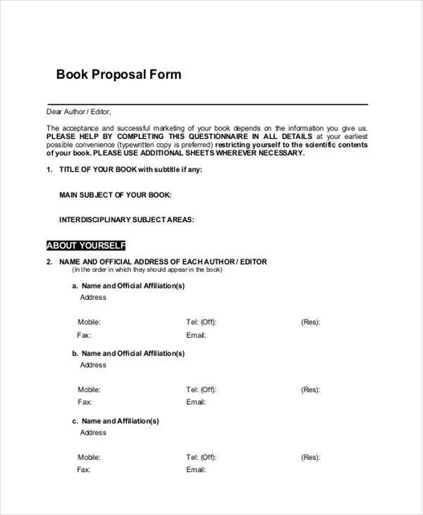 free 9 book proposals forms in pdf  ms word