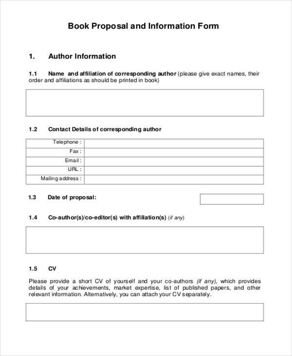 book proposal and information form